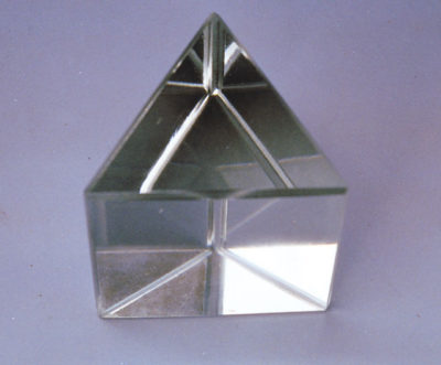 Prism Glass White 38mm Triangular Solid